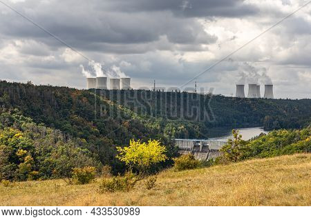 Meadow, Forest, Dam And Nuclear Power Plant Near Dukovany Village, Czech Republic, Europe