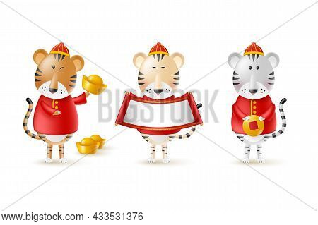 Chinese New Year Cute Tigers. Funny Characters In Cartoon 3d Style. Year Of The Tiger Zodiac. Happy