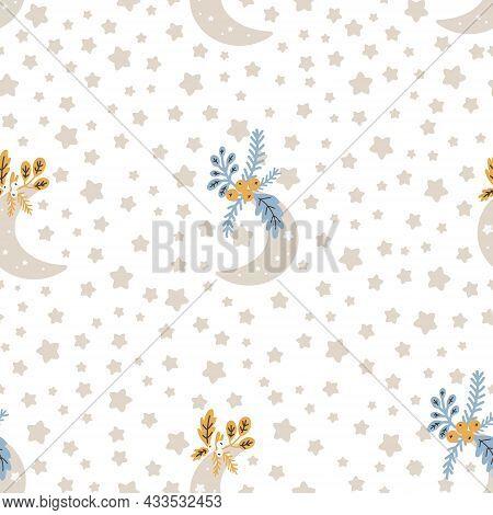 Christmas Pattern With Moon Scandinavian Hand Drawn Seamless Pattern. New Year, Christmas, Holidays