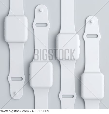 Stack Of Monochrome Smart Watches With Colorful Straps On White Background.