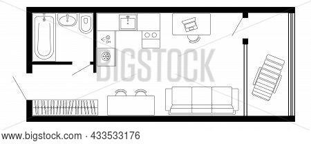 Apartment Floor Plan. Vector Architecture Micro Studio Plan Of Condominium, Flat, House. Interior De