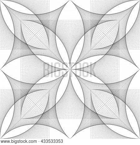 Seamless Flower Of Life Symbol Banner Template, Geometric Wireframe Sacred Lotus Flower, Thread Art,