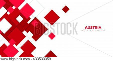 Red And White Square On White Background Design. Good Template For Austria Independence Day Or Natio