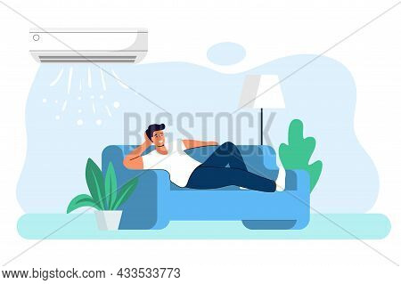 Home Air Conditioning Climate Control Concept House Cooling Comfort Living Young Man Is Resting Home
