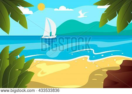 Tropical Beach Turquoise Sea Water Sun Blue Sky Green Palms Yellow Sand White Clouds Ocean Wave Good