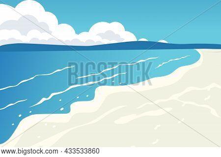 Tropical Beach Turquoise Sea Water Sun Blue Sky Yellow Sand White Clouds Ocean Wave Good Summer Holi