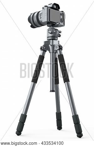 Photo And Video Tripod With Nonexistent Dslr Camera On Isolated On White