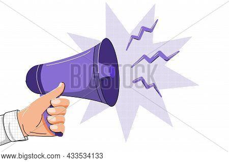 Megaphone In Hand Flat Design Vector Business Illustration Concept Bullhorn Digital Marketing Busine