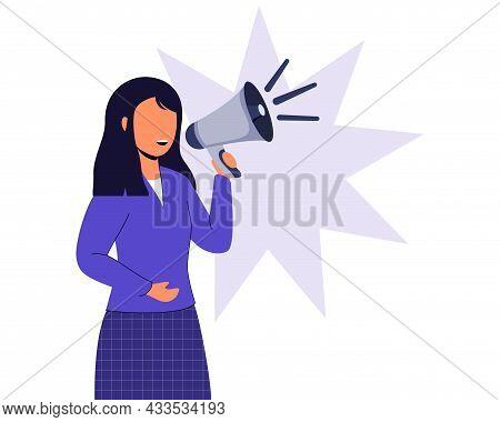 Professional Speaker With Megaphone Vector Illustration Flat Design Style Woman Holding Megaphone An