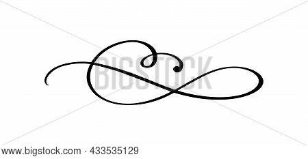 Vector Vintage Line Elegant Calligraphy Divider And Separator, Swirl And Corner Decorative Ornament.