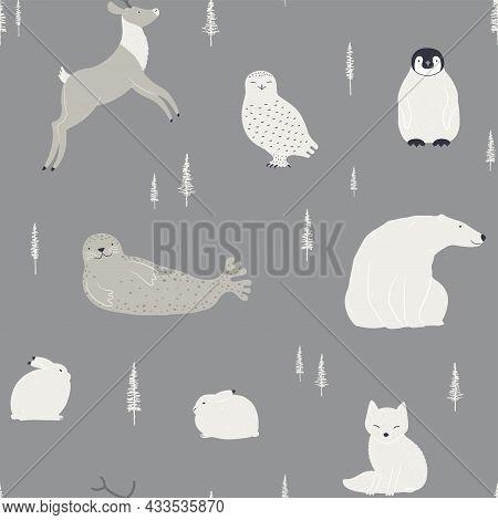 Cute Polar Animals, Winter Trees Seamless Pattern On Gray Background. Hand Drawn Vector Illustration