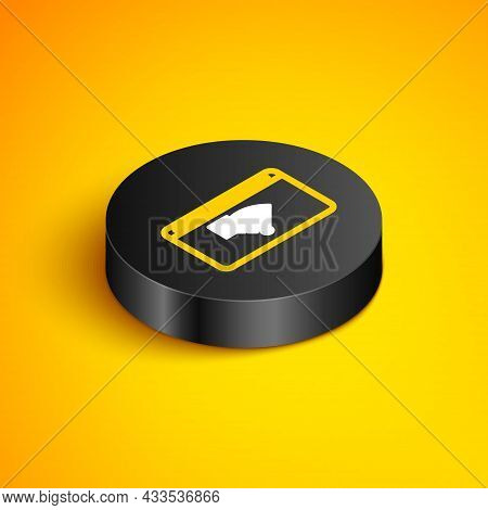 Isometric Line No Internet Connection Icon Isolated On Yellow Background. No Wireless Wifi Or Sign F