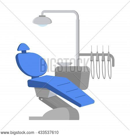 Dental Chair With Equipment, Blue Color Dentist Chair In A Medical Office.