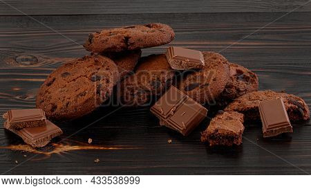 Chocolate Cookies On Wooden Table. Homemade Food On Wooden Background.