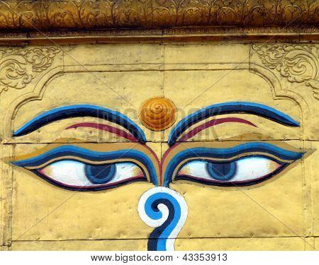 Close-up of Buddha's eyes
