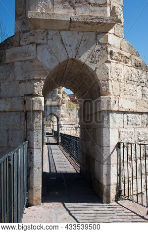Los Arcos, Aqueduct And Viaduct That Divides Between Medieval And Modern Teruel. Two Floors With Ser