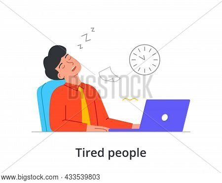 Extremely Tired Male Character Is Sleeping At Work In Front Of Laptop On White Background. Concept O
