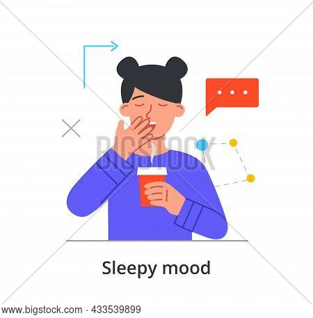 Sleepy Female Character Is Yawing At Work And Trying To Stay Awake On White Background. People With