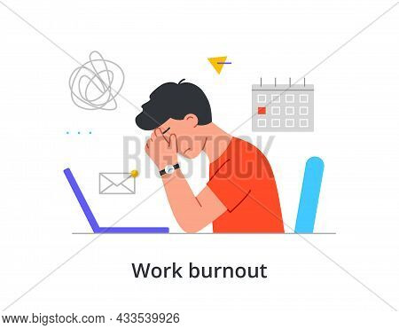 Young Male Character Is Suffering From Work Burnout While Sitting At His Workplace On White Backgrou