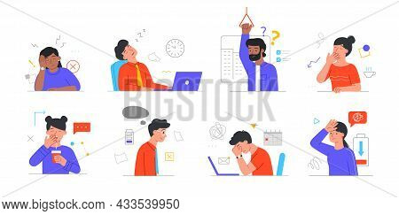 Set Of Tired, Sleepy Male And Female Characters In Daily Life Scenes On White Background. Office Wor
