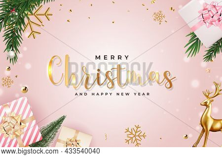 Christmas Holiday Party Sale Background. Happy New Year And Merry Christmas Poster Template. Vector