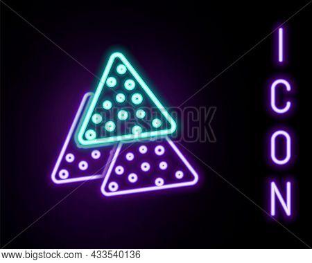 Glowing Neon Line Nachos Icon Isolated On Black Background. Tortilla Chips Or Nachos Tortillas. Trad
