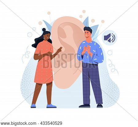 Mal And Female Deaf Characters Are Talking With Hand Gestures On White Background. Ear And Mute Sign