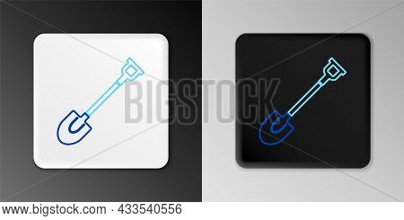 Line Garden Shovel Icon Isolated On Grey Background. Gardening Tool. Tool For Horticulture, Agricult