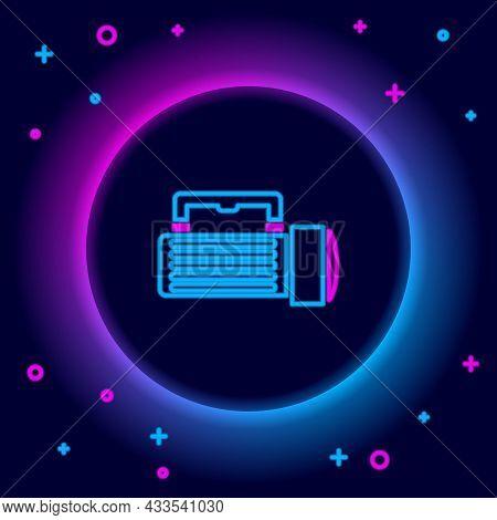 Glowing Neon Line Flashlight Icon Isolated On Black Background. Tourist Flashlight Handle. Colorful
