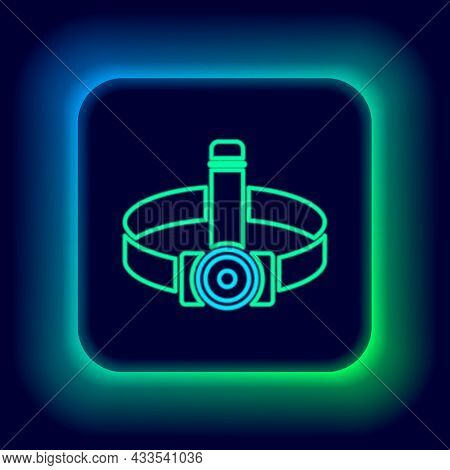 Glowing Neon Line Head Flashlight Icon Isolated On Black Background. Tourist Head Flashlight. Campin