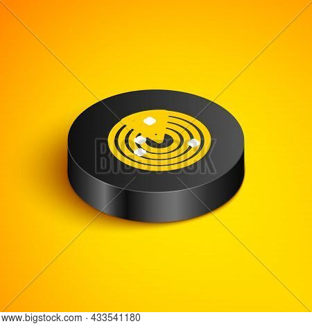Isometric Line Radar With Targets On Monitor In Searching Icon Isolated On Yellow Background. Milita