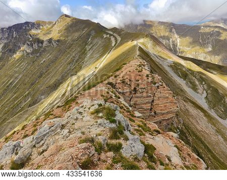 Beautiful View Of The Crest Of Monte Sibilla In The National Park Of Monti Sibillini, Marche Region,