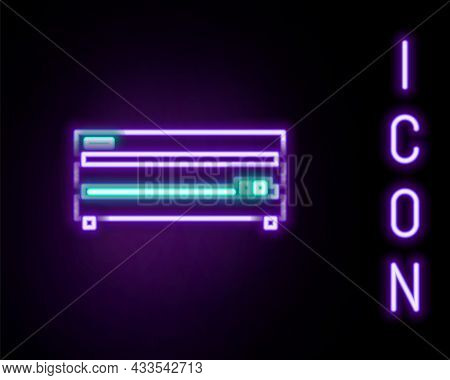 Glowing Neon Line Video Game Console Icon Isolated On Black Background. Colorful Outline Concept. Ve