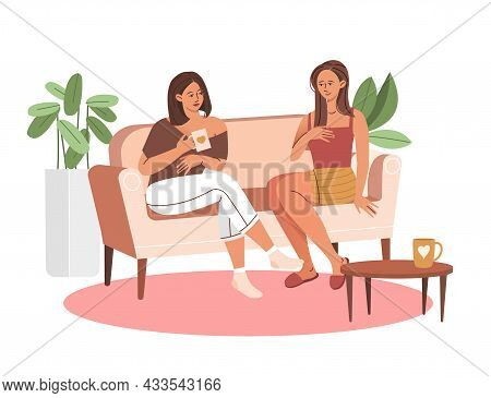 Two Happy Smiling Female Characters Are Sitting On The Couch And Laughing Together On White Backgrou