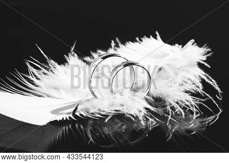 Two Wedding Rings And Feather,background For Marriage. Wedding Rings On A Black Background With Feat