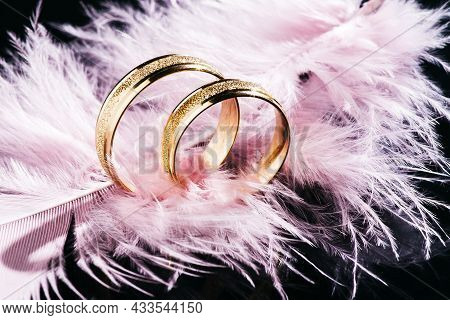 Two Golden Wedding Rings And Feather,background For Marriage.two Gold Wedding Rings On A Black Backg