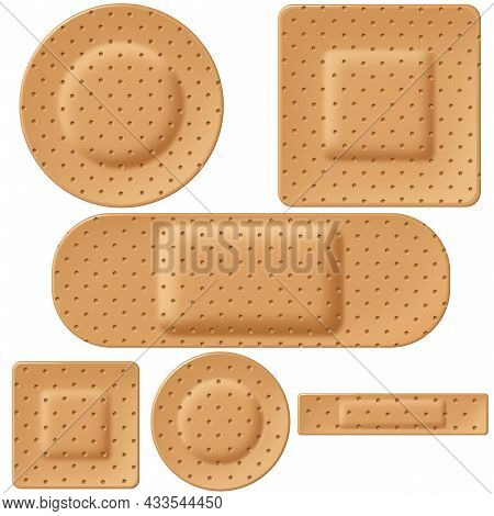 Bandage And Adhesive First Aid Bandages Group Concept As A Medical Injury Treatment And Medicine Equ