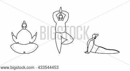Set Of Linear Contours Of Women Do Yoga Do Yoga Isolated On White. Tree, Lotus, Cobra Positions. Con