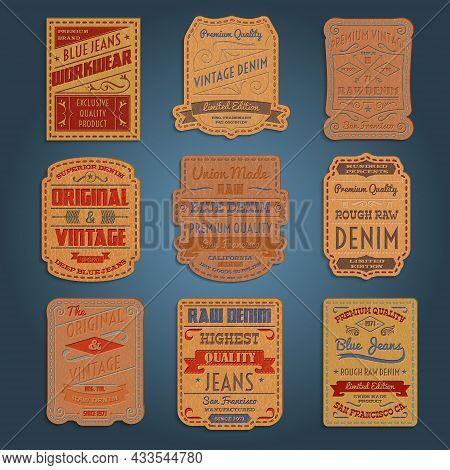 Original Vintage Blue Raw Jeans Genuine Leather Exclusive Brands Classic Decorative Labels Collectio