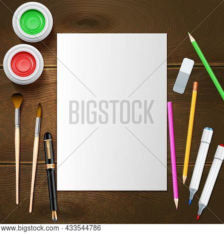 Blank White Paper Sheet And Painter Instruments On Wooden Background Mockup Vector Illustration