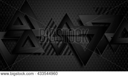 Black abstract triangles on grid background