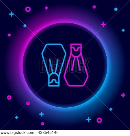 Glowing Neon Line Rubber Flippers For Swimming Icon Isolated On Black Background. Diving Equipment.