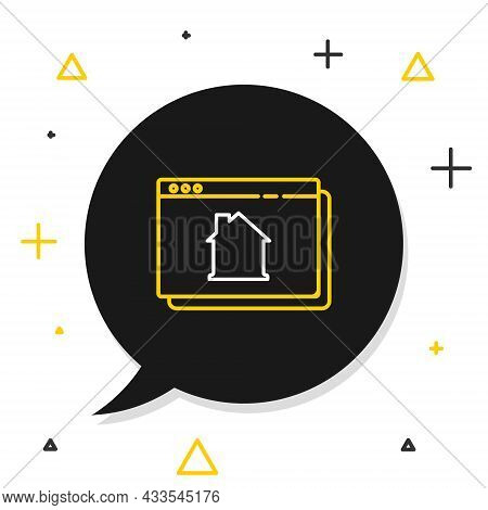 Line Online Real Estate House In Browser Icon Isolated On White Background. Home Loan Concept, Rent,