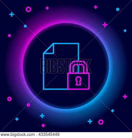 Glowing Neon Line Document And Lock Icon Isolated On Black Background. File Format And Padlock. Secu