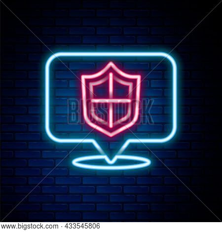 Glowing Neon Line Location Shield Icon Isolated On Brick Wall Background. Insurance Concept. Guard S