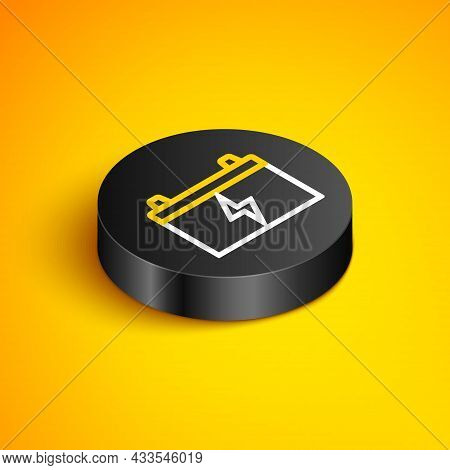 Isometric Line Car Battery Icon Isolated On Yellow Background. Accumulator Battery Energy Power And