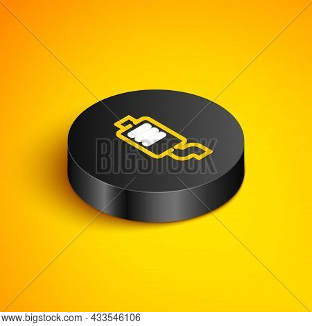 Isometric Line Car Muffler Icon Isolated On Yellow Background. Exhaust Pipe. Black Circle Button. Ve