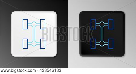 Line Chassis Car Icon Isolated On Grey Background. Colorful Outline Concept. Vector