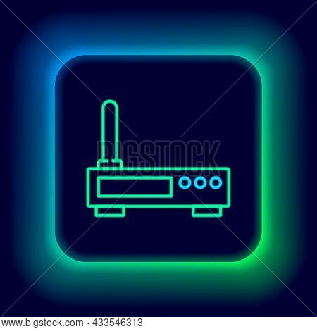 Glowing Neon Line Router And Wi-fi Signal Icon Isolated On Black Background. Wireless Ethernet Modem