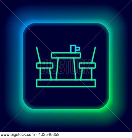 Glowing Neon Line French Cafe Icon Isolated On Black Background. Street Cafe. Table And Chairs. Colo